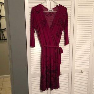 Maroon wrap around dress